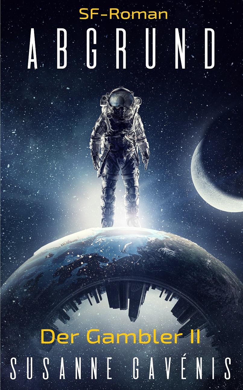 Astronaut explorer in sky. Mixed media